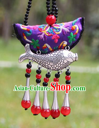 Chinese Traditional Accessories Yunnan Minority Embroidered Purple Sliver Fish Necklace for Women