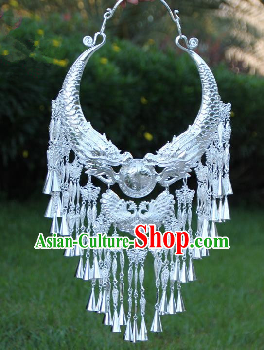 Chinese Traditional Ethnic Bride Accessories Yunnan Minority Peacock Tassel Necklace for Women