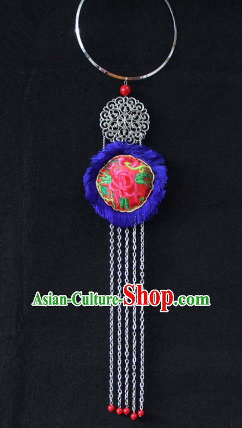 Chinese Traditional Ethnic Accessories Yunnan Minority Embroidered Blue Necklace for Women
