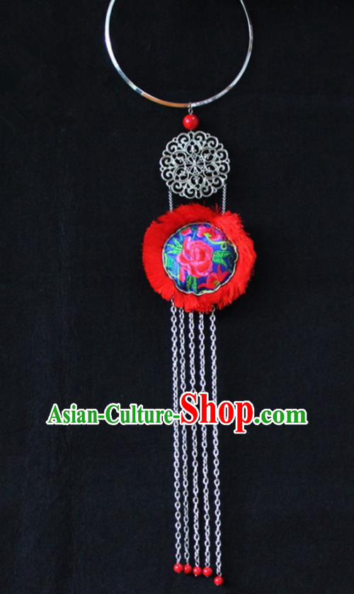 Chinese Traditional Ethnic Accessories Yunnan Minority Embroidered Red Necklace for Women