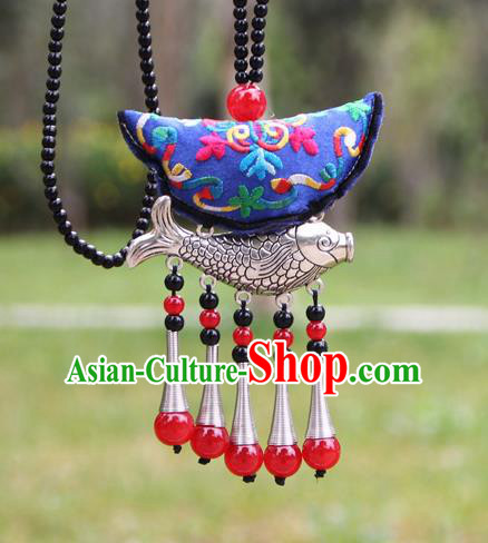 Chinese Traditional Accessories Yunnan Minority Embroidered Blue Sliver Fish Necklace for Women