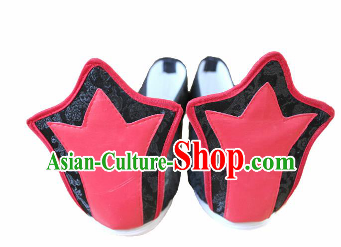 Chinese Traditional Wedding Hanfu Shoes Black Satin Shoes Ancient Embroidered Shoes for Men