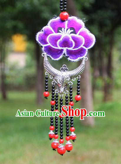 Chinese Traditional Accessories Yunnan Minority Embroidered Purple Peony Sliver Ox Horn Necklace for Women