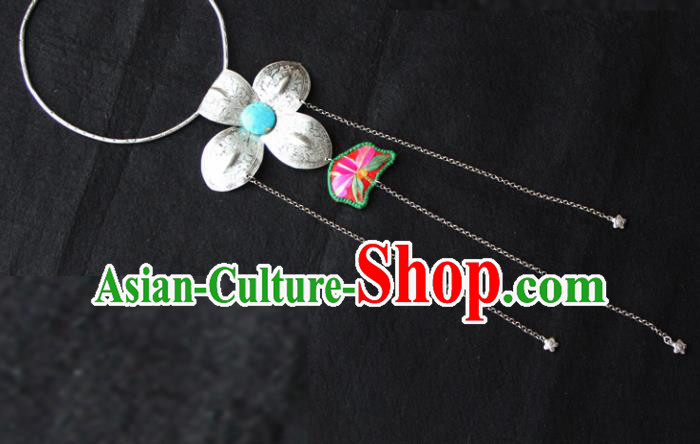 Chinese Traditional Accessories Yunnan Minority Sliver Flower Necklace for Women