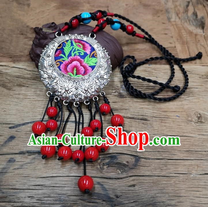 Chinese Traditional Jewelry Accessories Yunnan Minority Embroidered Pink Peony Necklace for Women