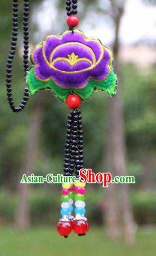 Chinese Traditional Jewelry Accessories Yunnan Minority Embroidered Purple Peony Necklace for Women