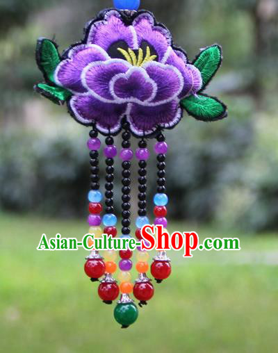 Chinese Traditional Jewelry Accessories Yunnan Minority Embroidered Purple Peony Tassel Necklace for Women