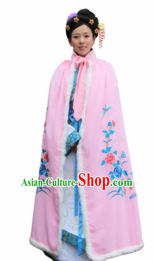 Chinese Traditional Han Dynasty Princess Pink Cloak Ancient Palace Lady Cape for Women