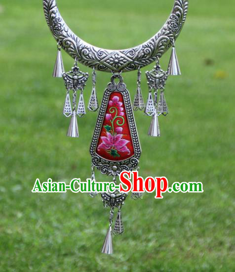 Chinese Traditional Ethnic Accessories Yunnan Miao Minority Embroidered Lotus Necklace for Women