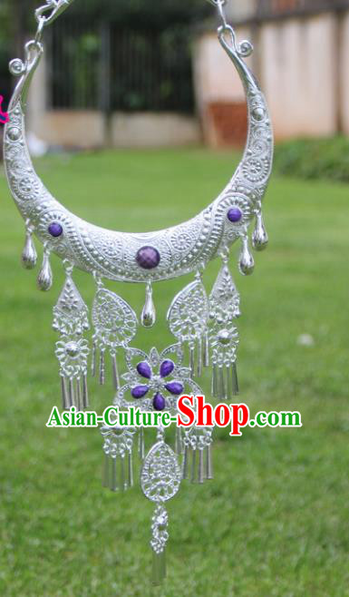 Chinese Traditional Ethnic Accessories Yunnan Miao Minority Purple Sliver Necklace for Women