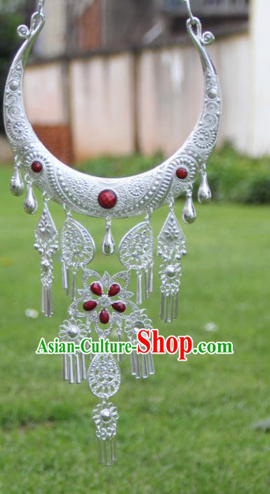 Chinese Traditional Ethnic Accessories Yunnan Miao Minority Red Sliver Necklace for Women