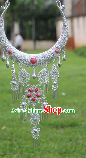 Chinese Traditional Ethnic Accessories Yunnan Miao Minority Rosy Sliver Necklace for Women