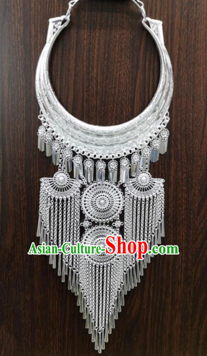 Chinese Traditional Yunnan Miao Minority Sliver Necklace Ethnic Tassel Accessories for Women