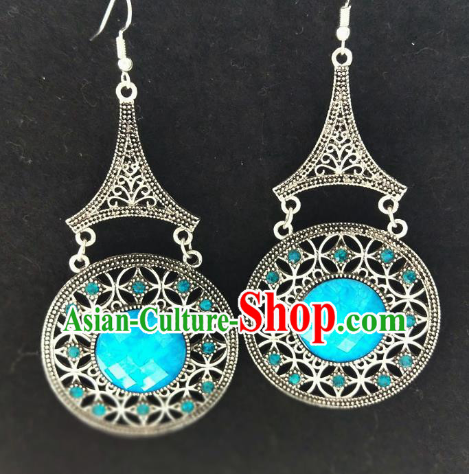Chinese Traditional Ethnic Earrings Yunnan National Blue Ear Accessories for Women