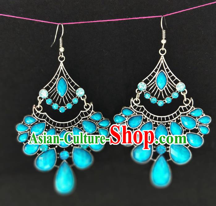 Chinese Traditional Ethnic Earrings Yunnan National Blue Crystal Ear Accessories for Women