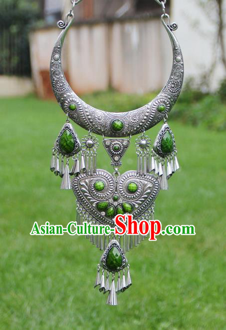 Chinese Traditional Yunnan Miao Minority Carving Sliver Green Necklace Ethnic Tassel Accessories for Women