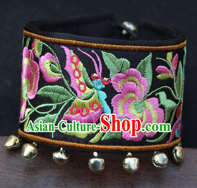 Chinese Traditional Ethnic Wrist Accessories Miao Nationality Embroidered Black Bracelet for Women