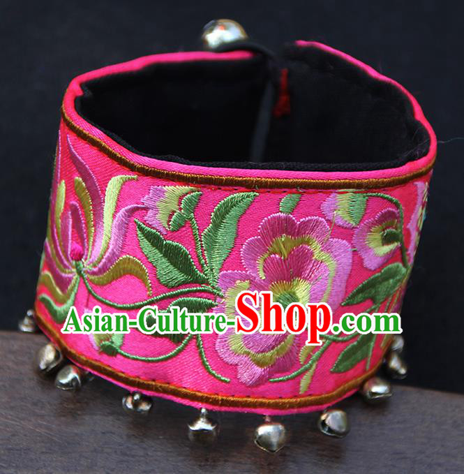 Chinese Traditional Ethnic Wrist Accessories Miao Nationality Embroidered Pink Bracelet for Women