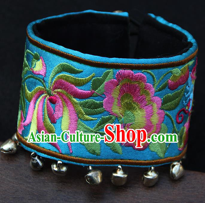 Chinese Traditional Ethnic Wrist Accessories Miao Nationality Embroidered Blue Bracelet for Women