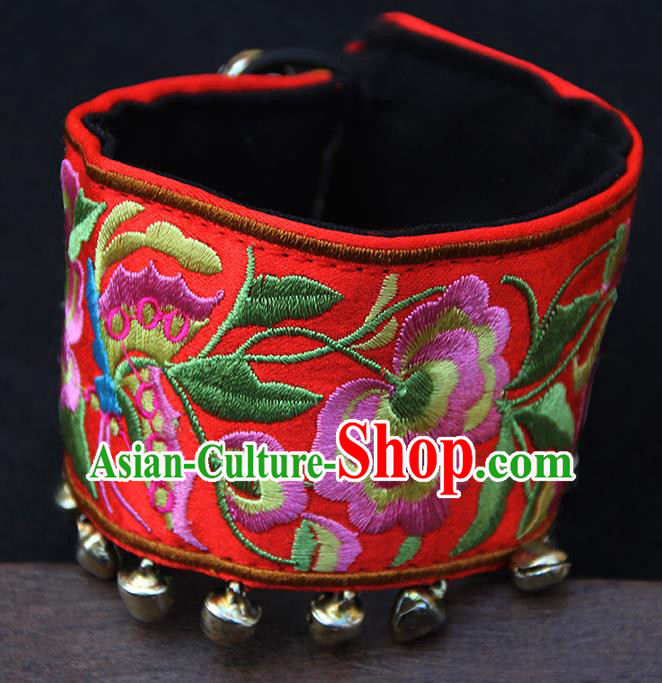 Chinese Traditional Ethnic Wrist Accessories Miao Nationality Embroidered Red Bracelet for Women