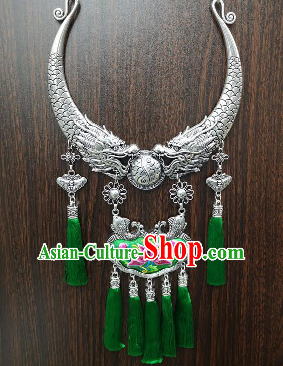Chinese Traditional Minority Carving Dragons Embroidered Green Necklace Ethnic Folk Dance Accessories for Women