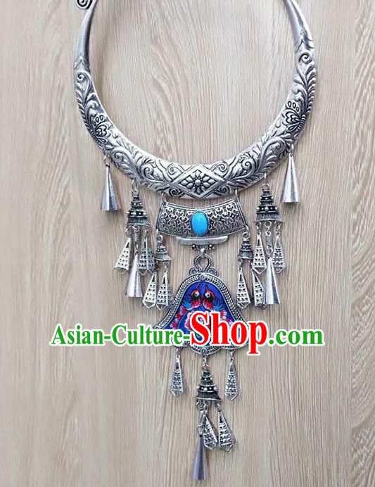 Chinese Traditional Minority Embroidered Blue Carving Necklace Ethnic Folk Dance Accessories for Women