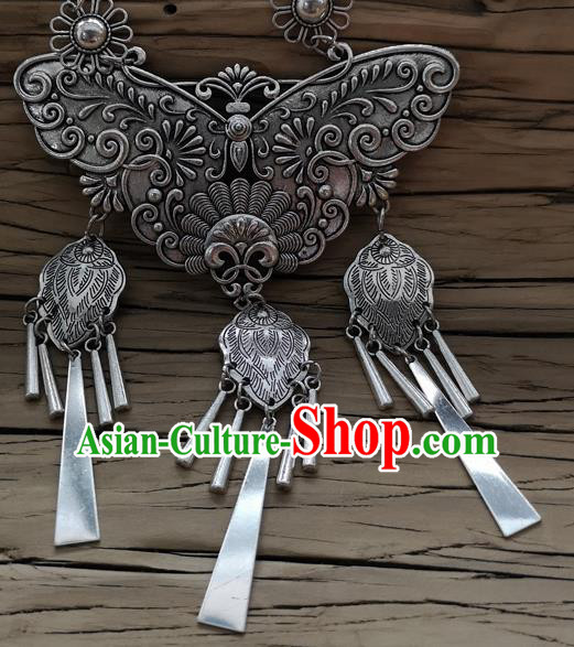 Chinese Traditional Minority Carving Butterfly Longevity Lock Necklace Ethnic Folk Dance Accessories for Women