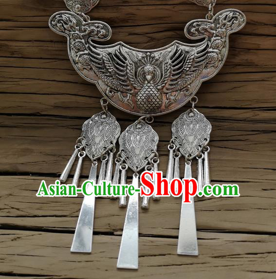 Chinese Traditional Minority Carving Peacock Longevity Lock Necklace Ethnic Folk Dance Accessories for Women