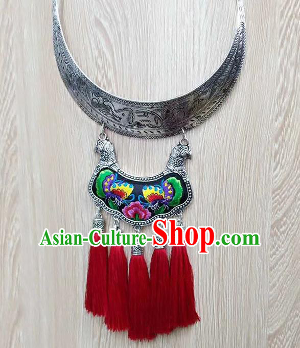 Chinese Traditional Miao Minority Black Embroidered Sliver Necklace Ethnic Folk Dance Accessories for Women