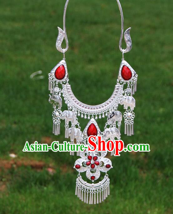 Chinese Traditional Miao Minority Red Flowers Crystal Necklace Ethnic Accessories for Women