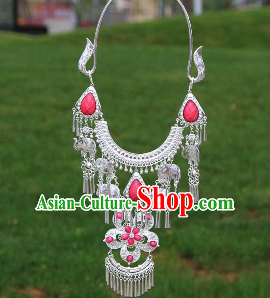 Chinese Traditional Miao Minority Pink Flowers Crystal Necklace Ethnic Accessories for Women