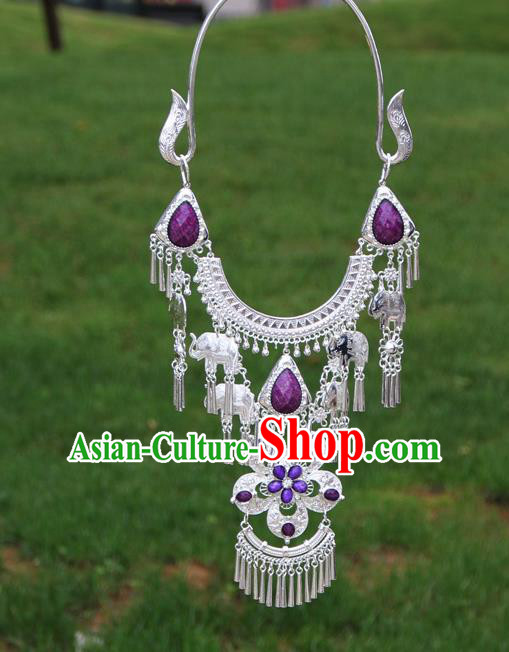 Chinese Traditional Miao Minority Purple Flowers Crystal Necklace Ethnic Accessories for Women
