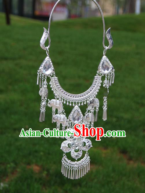 Chinese Traditional Miao Minority White Flowers Crystal Necklace Ethnic Accessories for Women