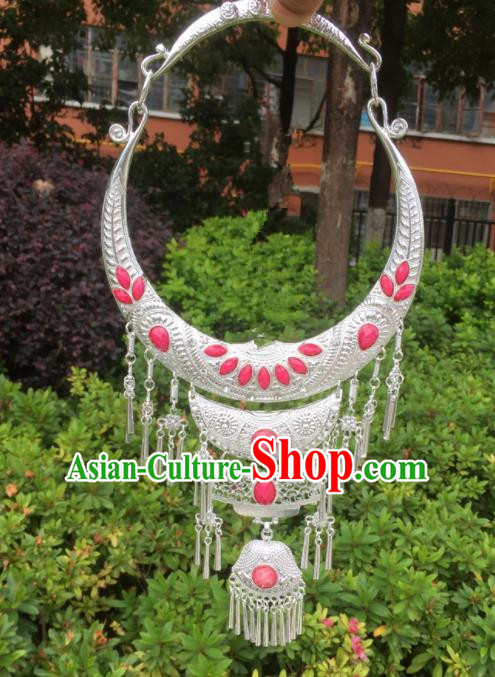 Chinese Traditional Jingpo Minority Pink Necklace Ethnic Folk Dance Accessories for Women