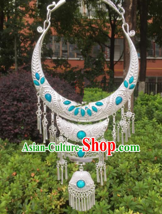 Chinese Traditional Jingpo Minority Blue Necklace Ethnic Folk Dance Accessories for Women