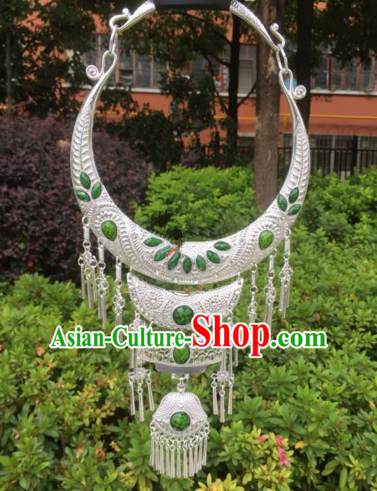 Chinese Traditional Jingpo Minority Green Necklace Ethnic Folk Dance Accessories for Women