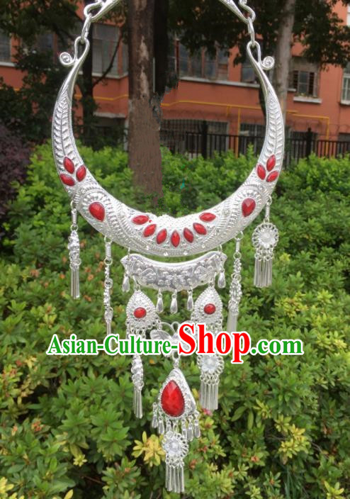Chinese Traditional Jingpo Minority Red Necklace Ethnic Folk Dance Accessories for Women