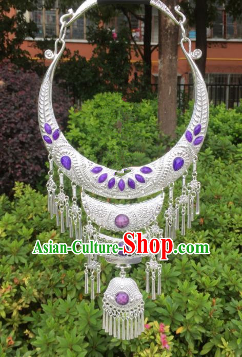 Chinese Traditional Jingpo Minority Purple Necklace Ethnic Folk Dance Accessories for Women