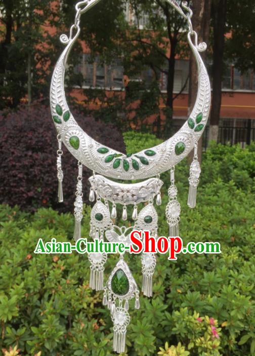 Chinese Traditional Jingpo Minority Green Tassel Necklace Ethnic Folk Dance Accessories for Women