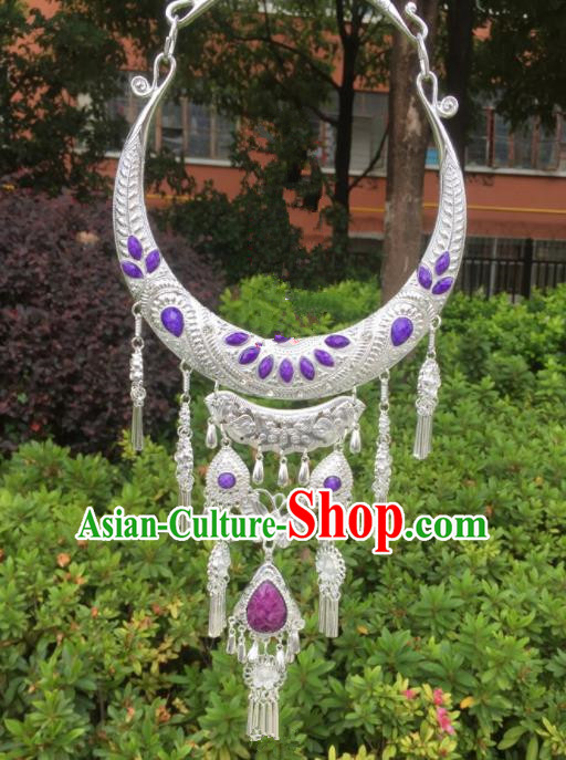 Chinese Traditional Jingpo Minority Purple Tassel Necklace Ethnic Folk Dance Accessories for Women