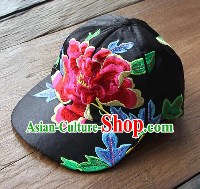 Chinese Traditional Embroidered Red Peony Baseball Cap Yunnan Minority Black Hat for Women