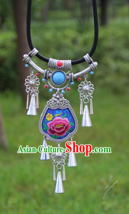 Chinese Traditional Minority Blue Embroidered Necklace Ethnic Folk Dance Accessories for Women