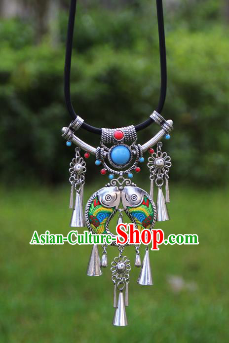 Chinese Traditional Minority Embroidered Green Double Fishes Necklace Ethnic Folk Dance Accessories for Women