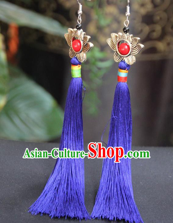 Chinese Traditional Ethnic Royalblue Tassel Lotus Earrings National Ear Accessories for Women