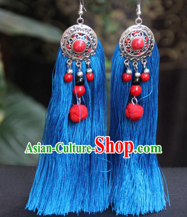 Chinese Traditional Ethnic Earrings National Blue Tassel Ear Accessories for Women