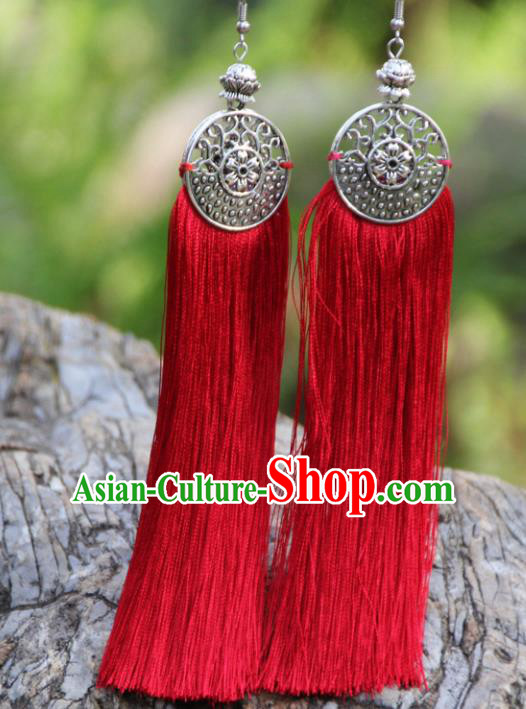 Chinese Traditional Ethnic Bride Earrings National Red Tassel Ear Accessories for Women