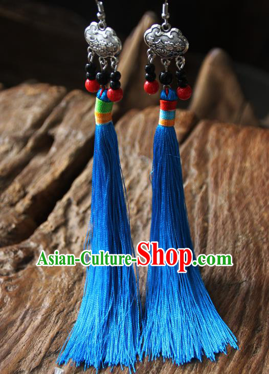 Chinese Traditional Ethnic Blue Tassel Longevity Lock Earrings National Ear Accessories for Women