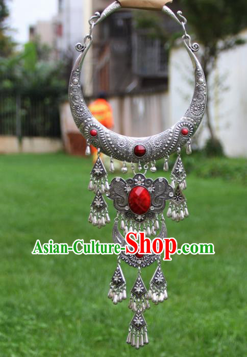 Chinese Traditional National Ethnic Tassel Necklace Red Necklet Jewelry Accessories for Women