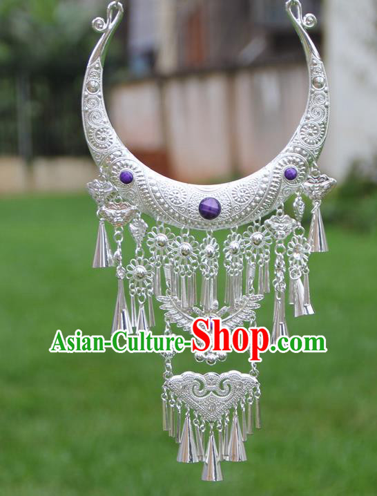 Chinese Traditional National Ethnic Butterfly Tassel Necklace Purple Necklet Jewelry Accessories for Women
