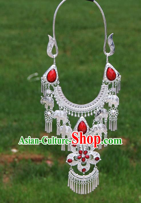 Chinese Traditional National Ethnic Flowers Tassel Red Necklace Jewelry Accessories for Women